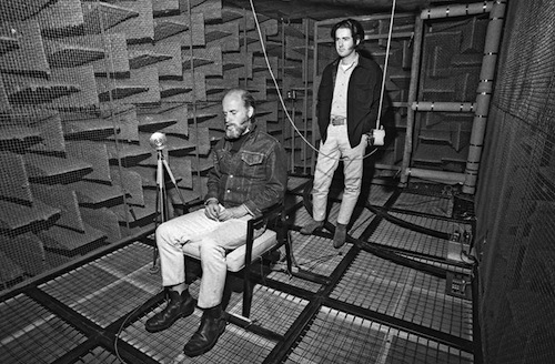 Robert Irwin and James Turrell in the anechoic chamber.