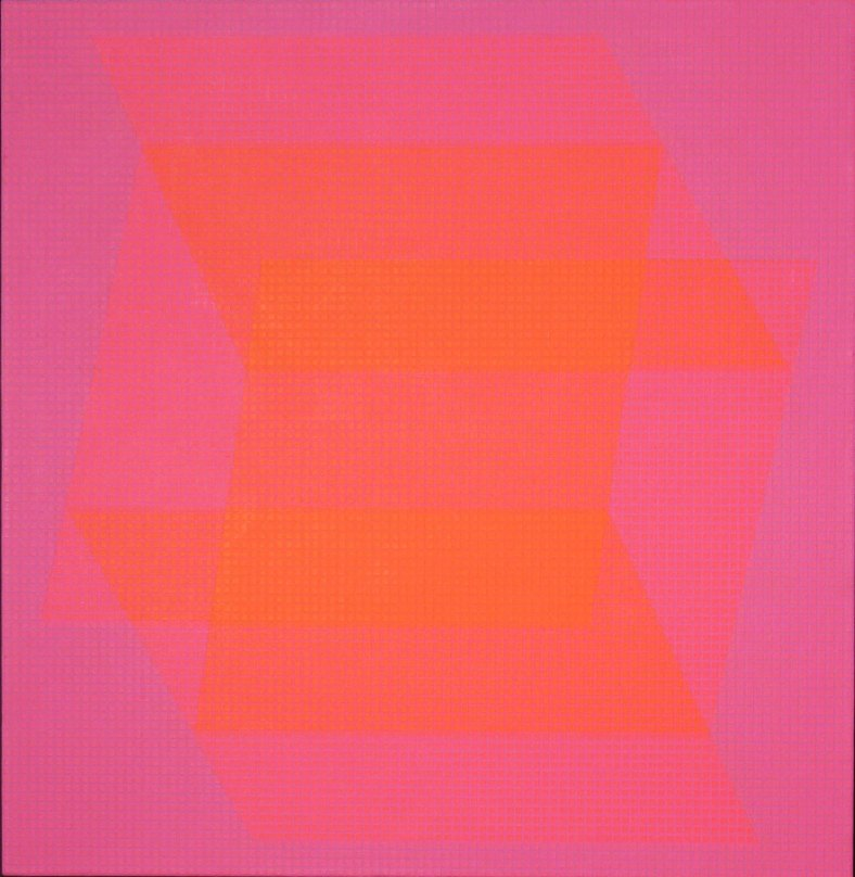"Julian Stanczak, 'Translucent Orange', 1968, acrylic on canvas, 36"" X 36""."