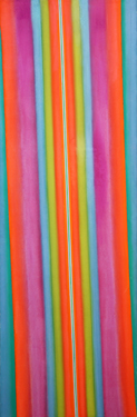 Leon Berkowitz, 'Oblique #6', 1968, Oil on canvas, 114 x 37 in (290 x 63 cm).