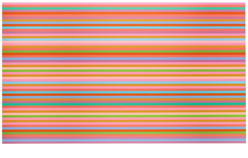 Bridget Riley, 'Arioso (Blue)', 2013, Oil on linen, 59 1:8 x 101 1:4 inches (150 x 257,2 cm)