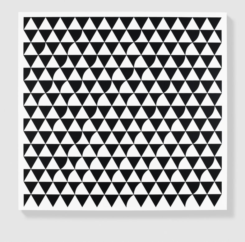 "Bridget Riley, ""Rustle"", 2015. Paintings, acrylic on APF polyester support, 73.5 x 77.25 in. (186.7 x 196.2 cm.)."