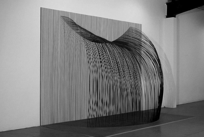 """Tom Orr, Waterfall, side, 122"""" x 184"""" x 84"""", steel, paint, wood"""