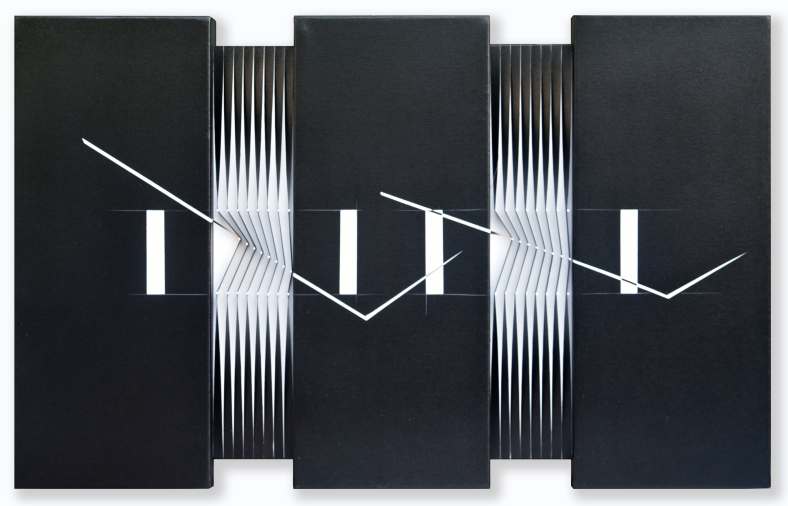 6-Trittico, 2012, acrylic and nails on canvas and panel, 60 x 97 cm. - 23.6 x 38.2 in.