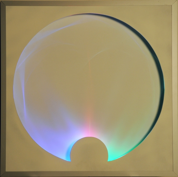 28-Onde Gravitazionali, 2014, mixed media with light bulbs, 31.5x31.5 in